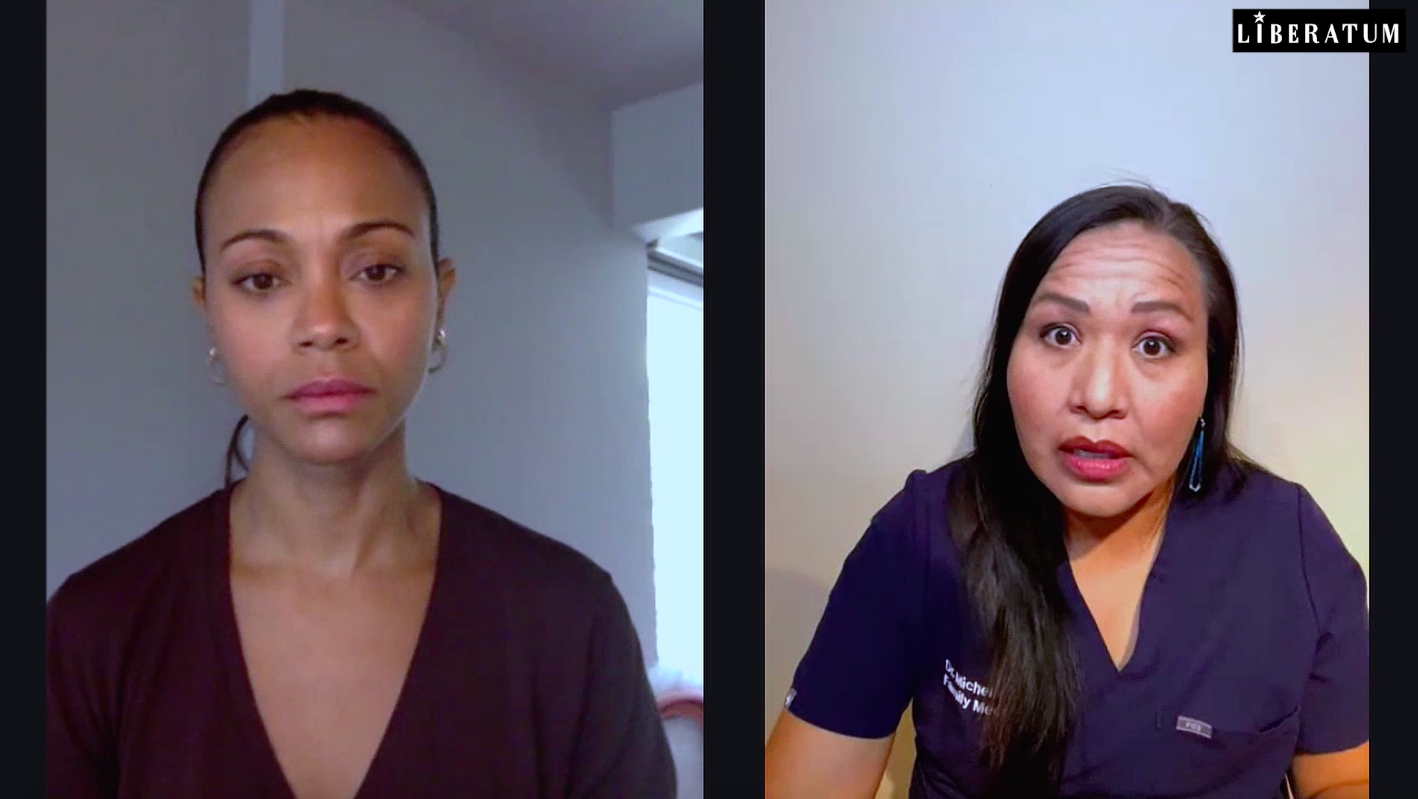 ZOE SALDANA WITH DR MICHELLE TOM FOR LIFESAVING CONVERSATIONS (USA)